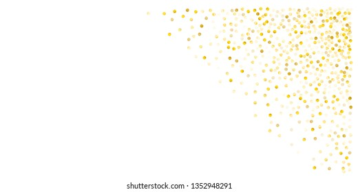 Gold glitter dots, sparkling abstract golden tinsel background, metal christmas confetti falling. light magic shining Flying particles, sparkle vector border backdrop. shimmer shiny halftone