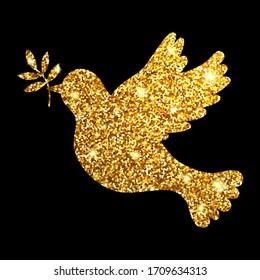 Gold glitter dove on black background. Silhouette pigion. Symbol peace. Vector illustration.