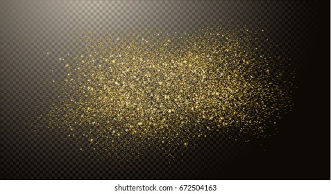 Gold glitter dust, cloud abstract elements on transparent background, golden sparkles. Vector illustration.
