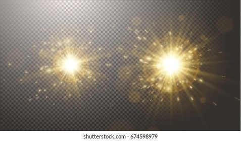 Gold glitter dust, sun ray, light, glow, sunbeam, burst, warm sunrise, gold explosion, stars, bright abstract elements, transparent background, golden sparkles. Vector, separated elements under mask