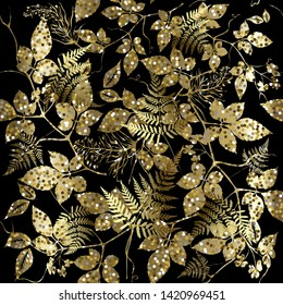 Gold glitter floral seamless pattern. Vector glittery plants background. Shiny golden glowing leaves. Tropic fern leaves, branches. Textured luxury ornate design with glitters. Repeat shine backdrop.