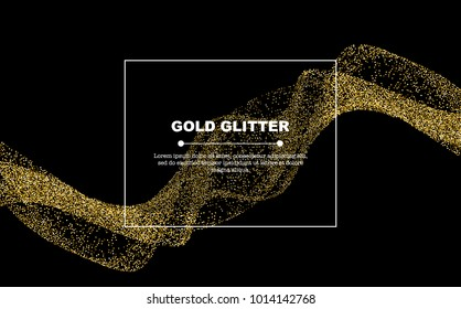 Gold glitter flow abstract lines isolated on black background, vector illustration. Sparkling dots wave with frame, space for text for banners, party invitations, graphic design.