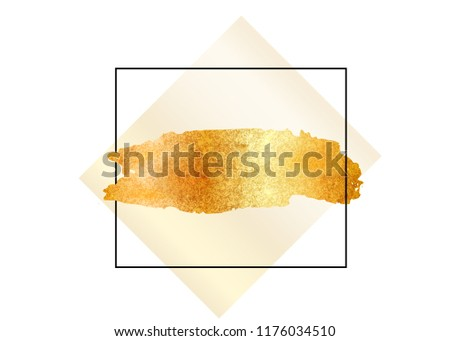 8f2c70a5d910 Gold glitter foil brush stroke vector. Golden paint smear with rectangle border  frame isolated on