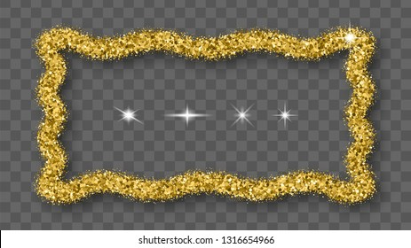 Gold Glitter Frame With Bland Shadows Isolated On Transparent  Background. Abstract Shiny Texture Rectangle Border. Golden Explosion Of Confetti. Vector Illustration, Eps 10.
