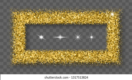 Gold Glitter Frame With Bland Shadows Isolated On Transparent  Background. Abstract Shiny Texture Rectangle Border.  Vector Illustration, Eps 10.