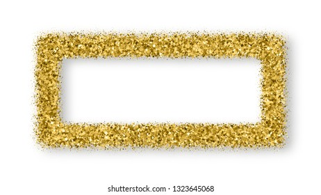 Gold Glitter Frame With Bland Shadows Isolated On White  Background. Abstract Shiny Texture Rectangle Border. Golden Explosion Of Confetti. Vector Illustration, Eps 10.