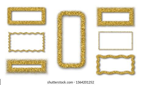 Gold Glitter Frame With Bland Shadows Isolated On White  Background. Abstract Shiny Texture Rectangle Border. Set Vector Illustration, Eps 10.