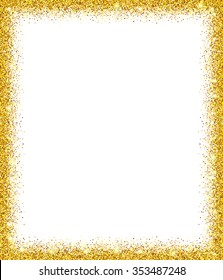 Gold glitter frame with white background