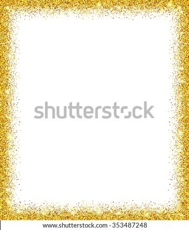 Gold Glitter Frame White Background Stock Vector (Royalty Free ...