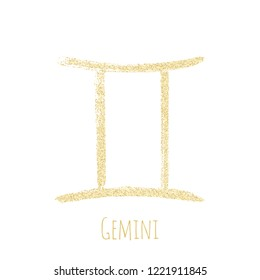 Gold glitter Gemini horoscope icon, hand painted zodiac vector sign. Astrological icon isolated. Gemini astrology horoscope symbol gold clip art.