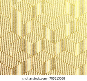 Gold glitter geometric pattern background with hexagon line texture. Golden Christmas wallpaper.