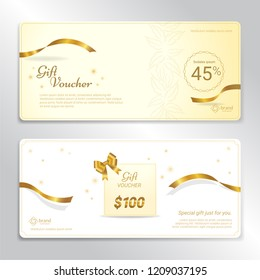 Gold glitter gift voucher, certificate, coupon for festive season
