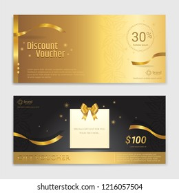 Gold glitter gift voucher, certificate, coupon for festive season