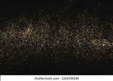 Gold Glitter Halftone Dotted Backdrop. Abstract Circular Retro Pattern. Pop Art Style Background. Golden Explosion Of Confetti. Digitally Generated Image. Vector Illustration, Eps 10.