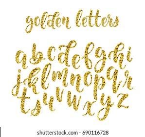 Gold glitter hand drawn latin modern calligraphy brush alphabet of lowercase letters. Vector illustration
