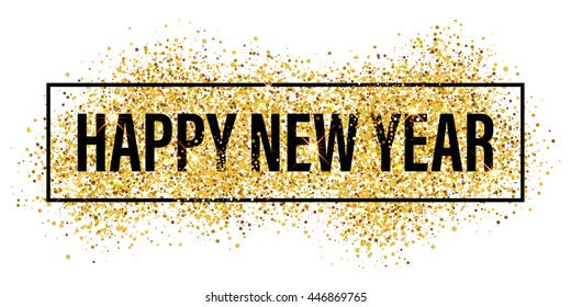 Gold glitter Happy New Year 2018 background. Happy new year glittering texture. Gold sparkles with frame. Chic glittering invitation template for new year eve.