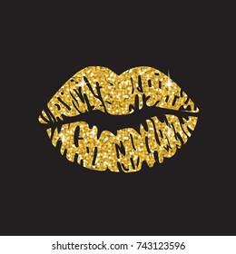 Gold glitter kisses vector illustration