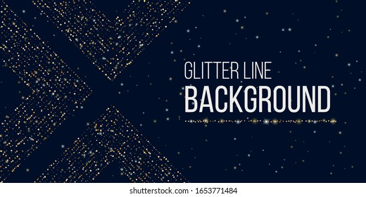 Gold glitter lines. Festoons glow hanging background.Glow light shiny effect. Confetti dust. Abstract creative vector illustration for banner, cover, template, poster, layot, flyer for xmas, christmas