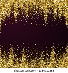 Gold glitter luxury sparkling confetti. Scattered small gold particles on red maroon background. Adorable festive overlay template. Wonderful vector illustration.