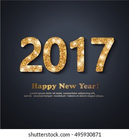 The gold glitter New Year 2017 text in modern style on a black background