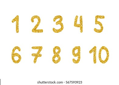 Gold glitter numbers.