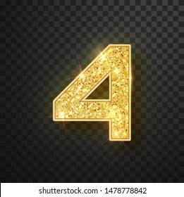 Gold glitter numbers four with shadow. Vector realistick shining golden font figure 4 lettering of sparkles on black background. For decoration of cute wedding, anniversary, party, label, headline, po
