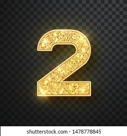 Gold glitter numbers two with shadow. Vector realistick shining golden font figure 2 lettering of sparkles on black background. For decoration of cute wedding, anniversary, party, label, headline, pos