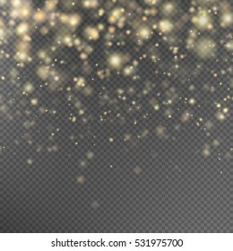 Gold glitter particles background effect for luxury greeting rich card. Sparkling texture. Star dust sparks in explosion on black background. EPS 10 vector file included