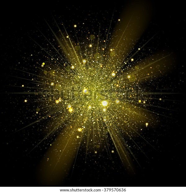 Gold Glitter Particles Background Effect Sparkling Stock Vector