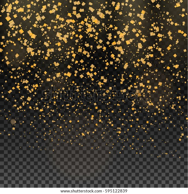 Gold glitter particles expensive on a transparent background vector illustration. Golden rain of dust sparks. Designed with falling precious metal template for your projects.
