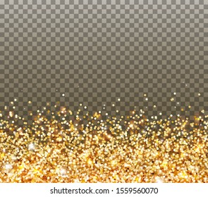 Gold glitter particles and light effect sparks isolated on transparent background. Vector glow gold shimmer confetti texture for Christmas, New Year luxury card design.