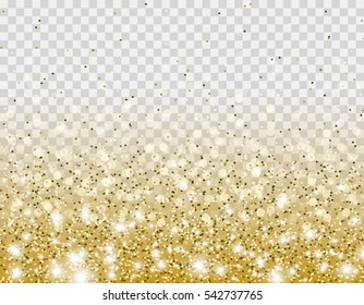 Gold glitter particles and lights effect for luxury greeting rich card. Vector glowing golden sparkling texture for brightly design. Star dust sparks in explosion on transparent background.