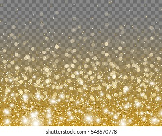 Gold glitter particles and lights effect for luxury greeting card. Vector glow gold shimmer texture with confetti for new year, christmas design. Star dust sparkles on transparent background