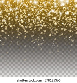 Gold glitter particles and lights effect for luxury greeting rich card. Vector glowing golden texture with confetti for brightly design. Star dust sparkle isolated on transparent background