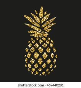 gold glitter pineapple on black background vector