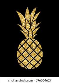 Gold Glitter Pineapple. Summer Concept Background Vector Illustration EPS10