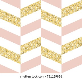 Gold Glitter, Pink and White Geometric Herringbone Seamless Pattern. Elegant Background. Glamour Style Print. Vector Pattern Tile Swatch Included.