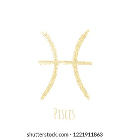 Gold glitter Pisces horoscope icon, hand painted zodiac vector sign. Astrological icon isolated. Pisces astrology horoscope symbol gold clip art.