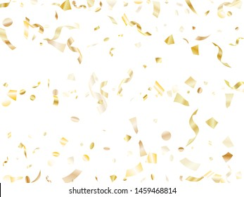 Gold glitter realistic confetti flying on white holiday vector graphics. VIP flying tinsel elements, gold foil gradient serpentine streamers confetti falling new year vector.