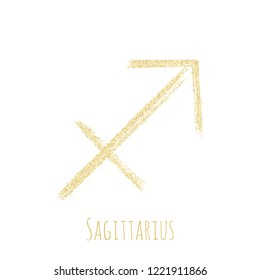 Gold glitter Sagittarius horoscope icon, hand painted zodiac vector sign. Astrological icon isolated. Sagittarius astrology horoscope symbol gold clip art.