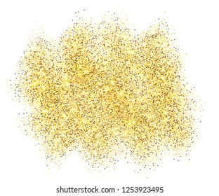 Gold glitter sand frame isolated on white background. Golden texture confetti, sequins, dust spray. Bright pattern design for New Year decoration, Christmas holiday celebration Vector illuetration