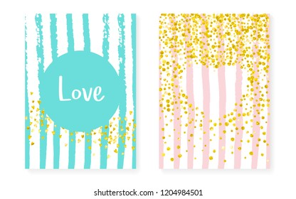 Gold glitter sequins with dots. Wedding and bridal shower invitation cards set with confetti. Vertical stripes background. Luxury gold glitter sequins for party, event, save the date flyer.