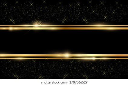 Gold glitter with shiny gold frame on a transparent black background. Vector luxury golden background.