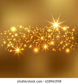Gold glitter sparkles background. Vector golden dust texture. Twinkling confetti, shimmering star lights.