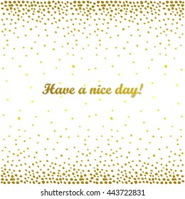 Gold glitter sparkles on white background. Golden explosion of circle confetti. Metallic hand-drawn abstract texture.