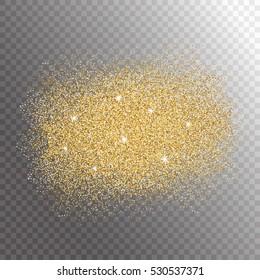 Gold glitter sparkles splash on transparent background. Vector illustration.
