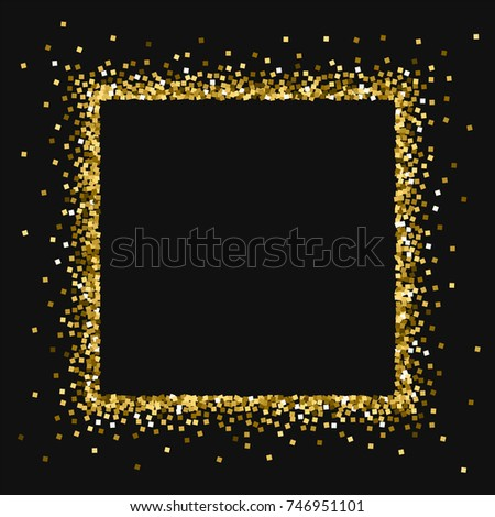 a0a199b027a7 Gold glitter. Square abstract border on black background. Captivating  vector illustration.