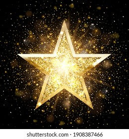 Gold glitter star with golden frame on dark background with fog. Christmas ornament shiny emblem vector illustration. Bright creative abstract decoration element for celebration.
