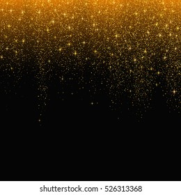 Gold glitter stardust background. Vector illustration.