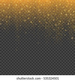 Gold glitter stardust christmas background. Vector illustration.
